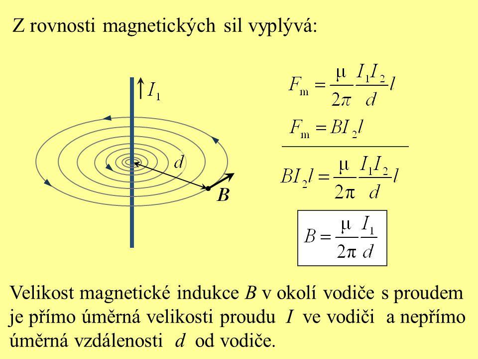 Z rovnosti magnetických sil vyplývá: