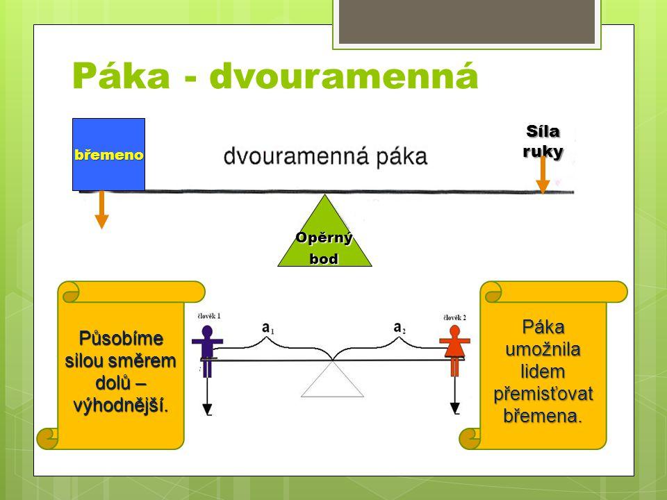 Páka - dvouramenná Páka umožnila lidem přemisťovat břemena.