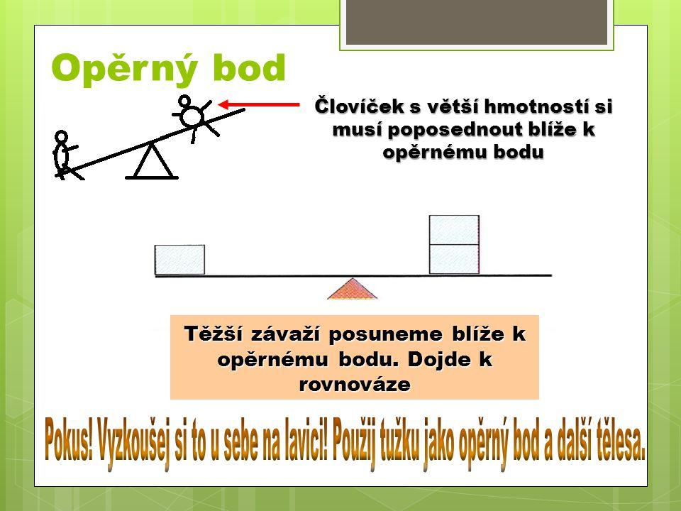 Opěrný bod Človíček s větší hmotností si musí poposednout blíže k opěrnému bodu. Tělesa jsou ve stejné vzdálenosti od opěrného bodu v nerovnováze.