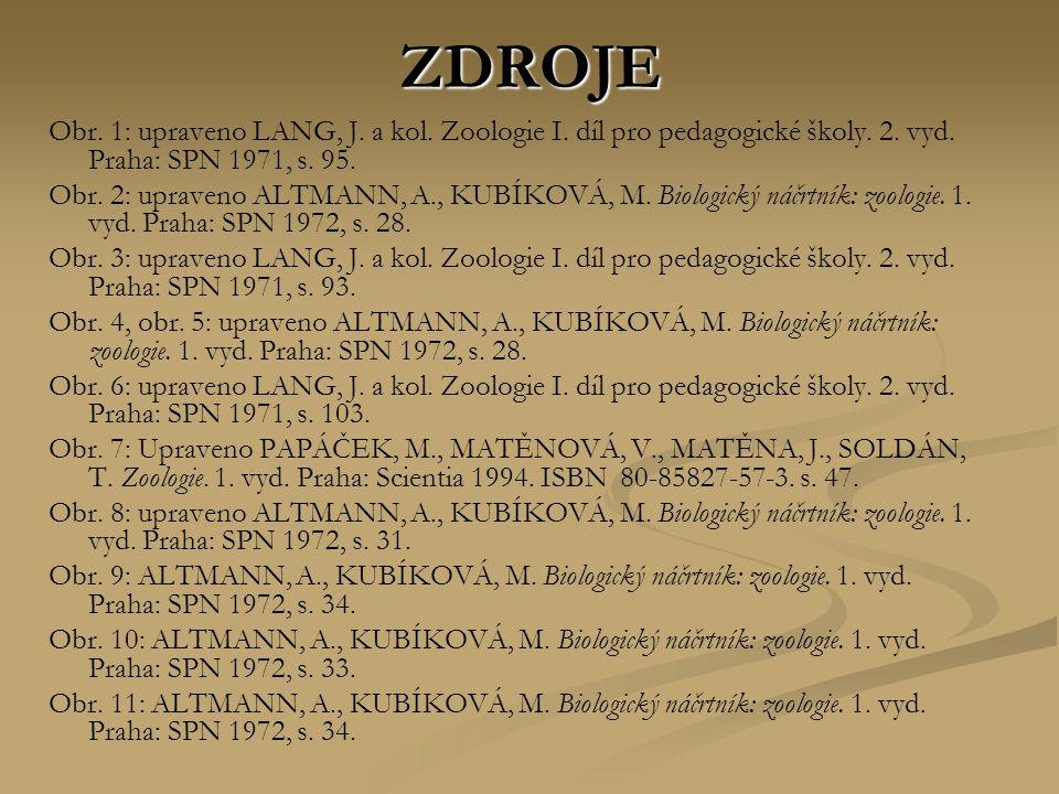 ZDROJE Obr. 1: upraveno LANG, J. a kol. Zoologie I. díl pro pedagogické školy. 2. vyd. Praha: SPN 1971, s. 95.