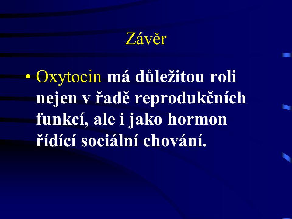 Závěr Oxytocin má důležitou roli nejen v řadě reprodukčních funkcí, ale i jako hormon řídící sociální chování.