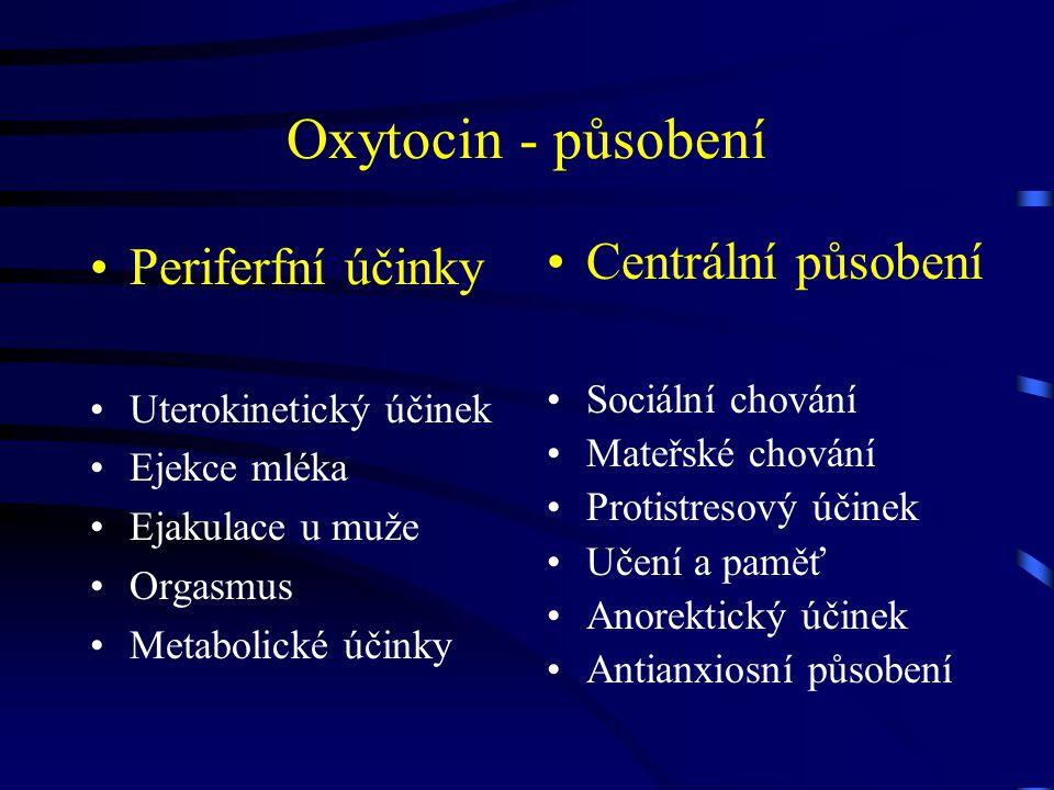 Oxytocin - působení Periferfní účinky Centrální působení