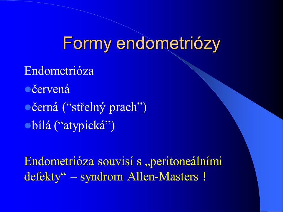 Formy endometriózy Endometrióza červená černá ( střelný prach )