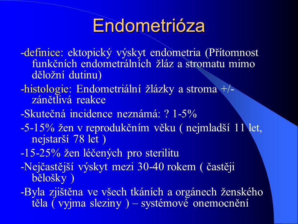 Endometrióza -definice: ektopický výskyt endometria (Přítomnost funkčních endometrálních žláz a stromatu mimo děložní dutinu)