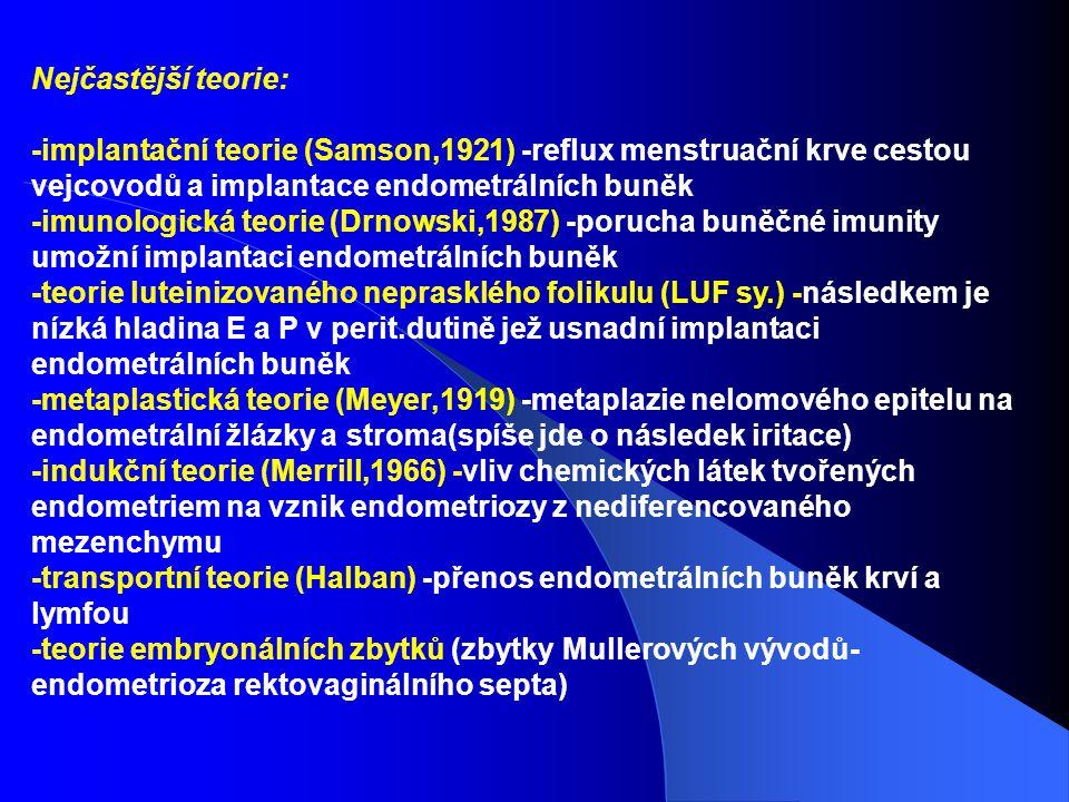 Nejčastější teorie: -implantační teorie (Samson,1921) -reflux menstruační krve cestou vejcovodů a implantace endometrálních buněk.