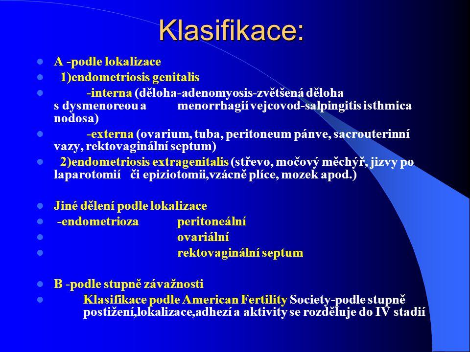Klasifikace: A -podle lokalizace 1)endometriosis genitalis