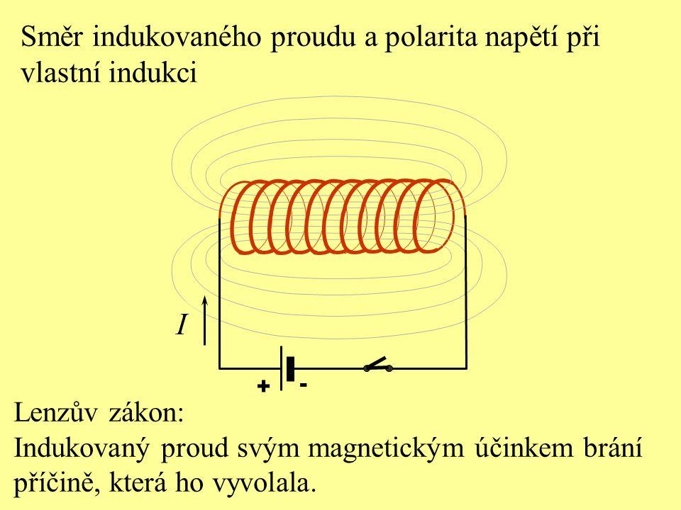 I Směr indukovaného proudu a polarita napětí při vlastní indukci