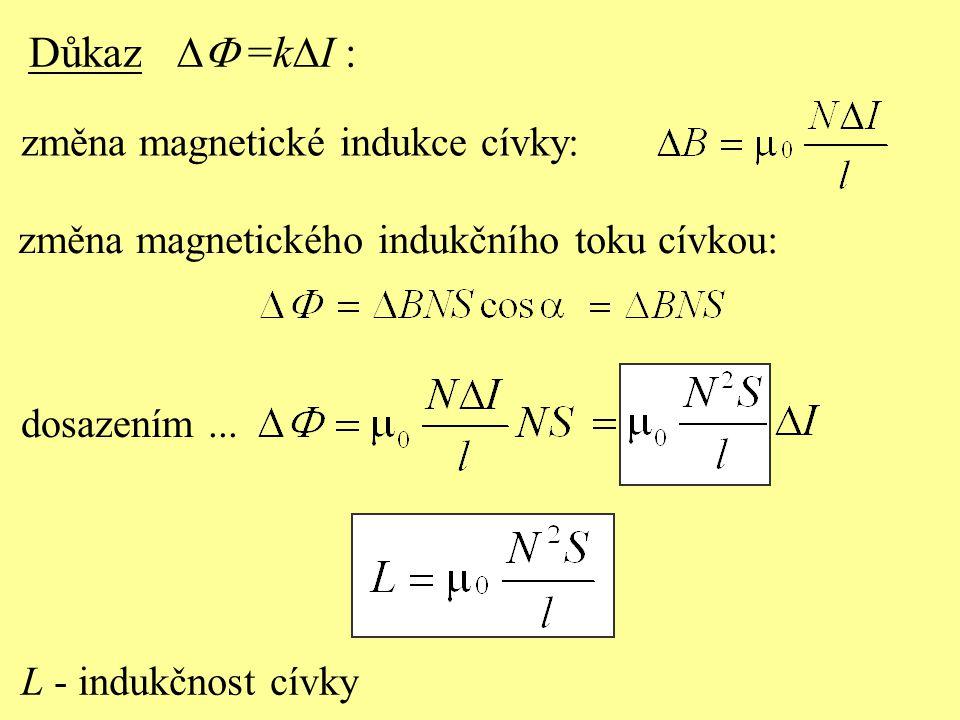 Důkaz DF =kDI : změna magnetické indukce cívky: