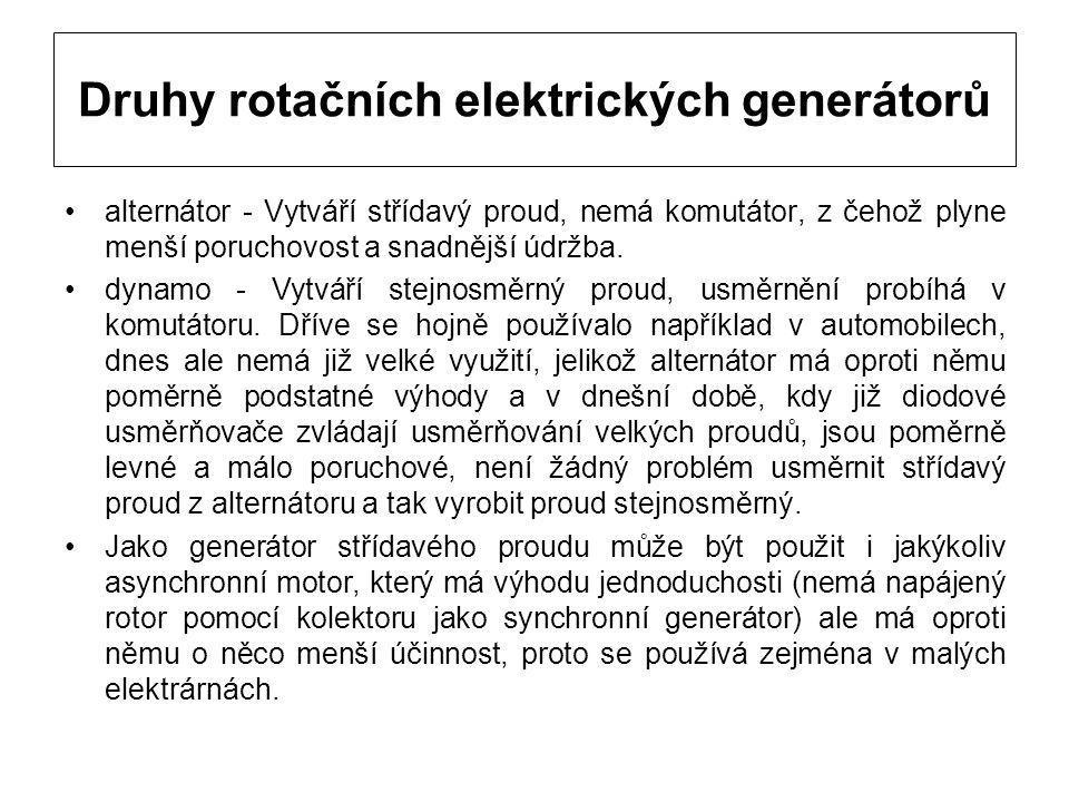 Druhy rotačních elektrických generátorů
