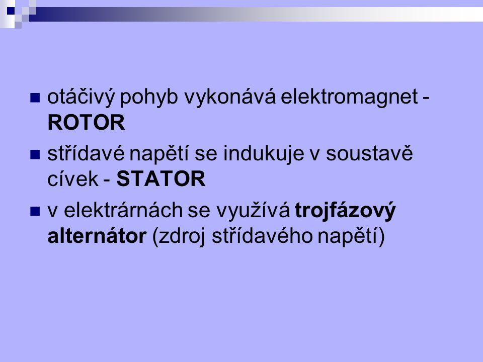 otáčivý pohyb vykonává elektromagnet - ROTOR
