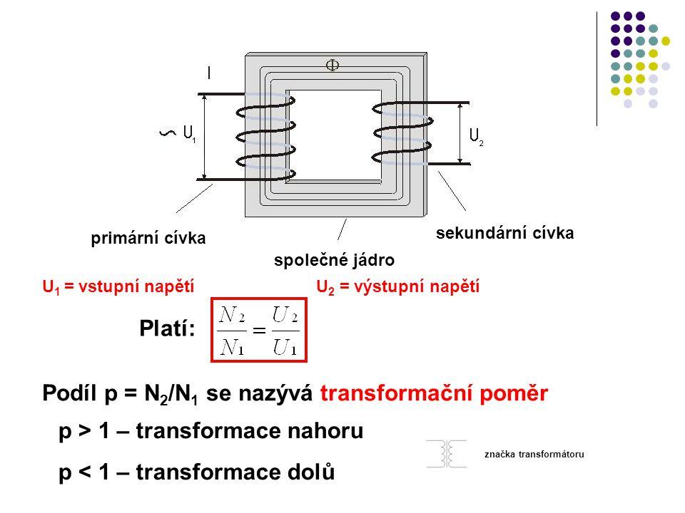 Podíl p = N2/N1 se nazývá transformační poměr