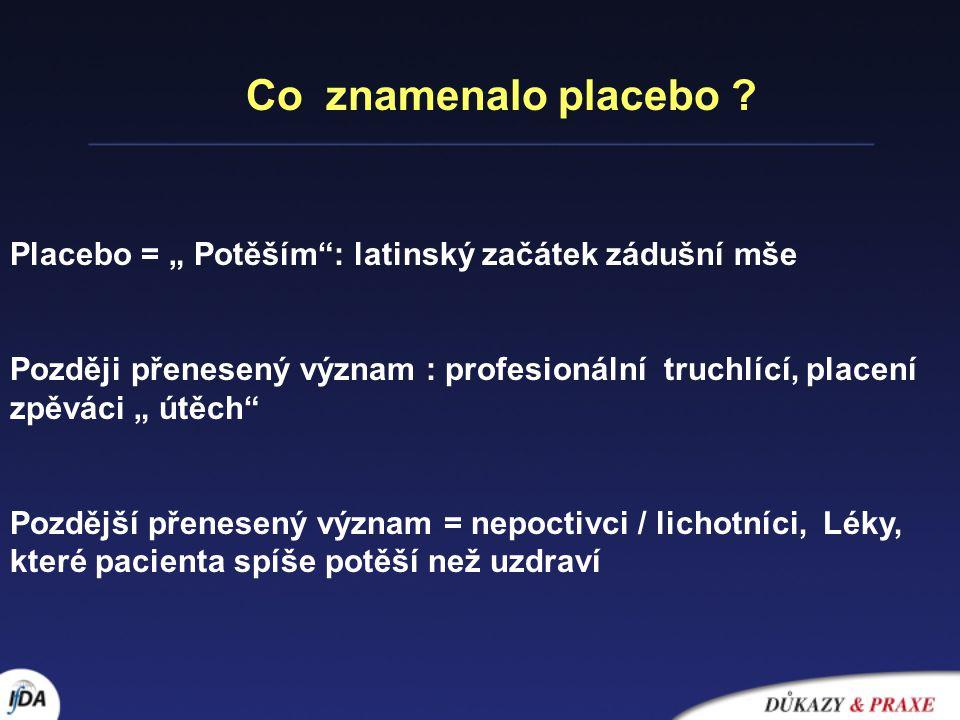 """Co znamenalo placebo Placebo = """" Potěším : latinský začátek zádušní mše."""