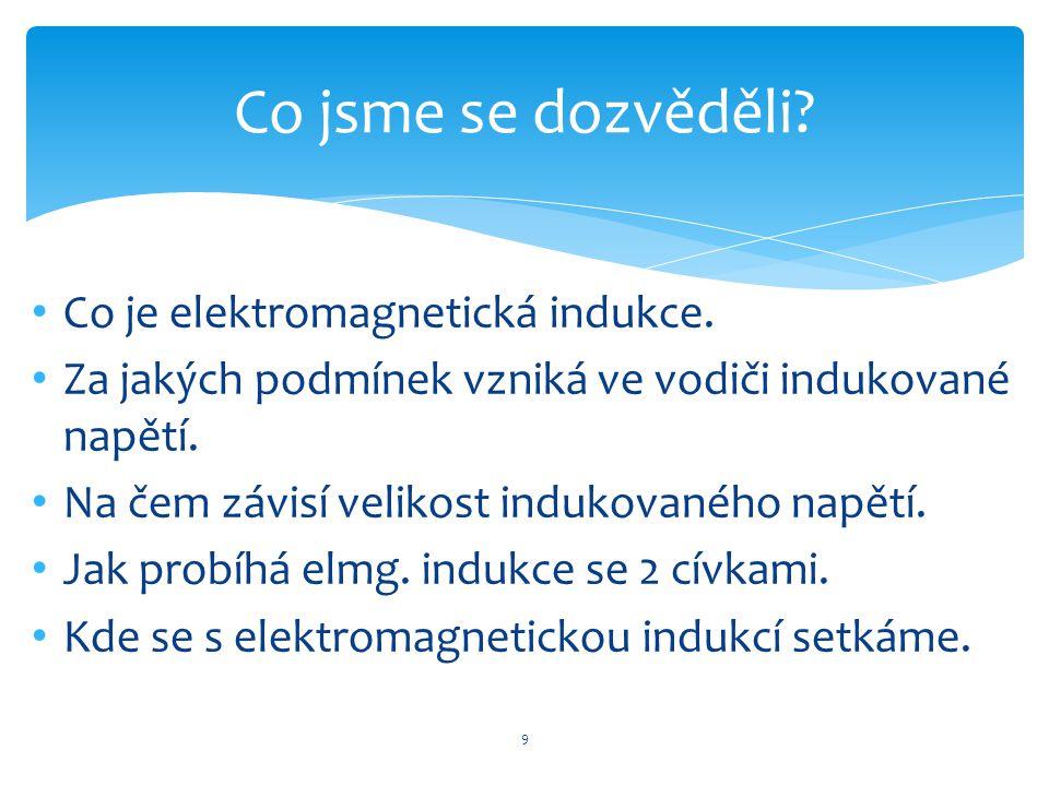 Co jsme se dozvěděli Co je elektromagnetická indukce.