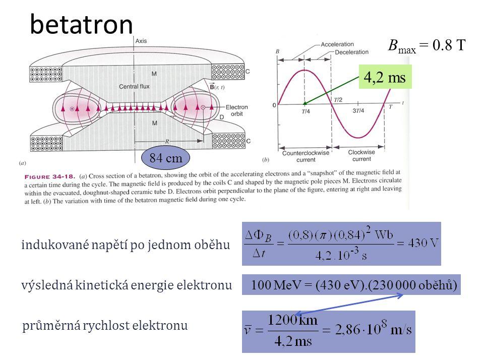 betatron Bmax = 0.8 T 4,2 ms 84 cm indukované napětí po jednom oběhu