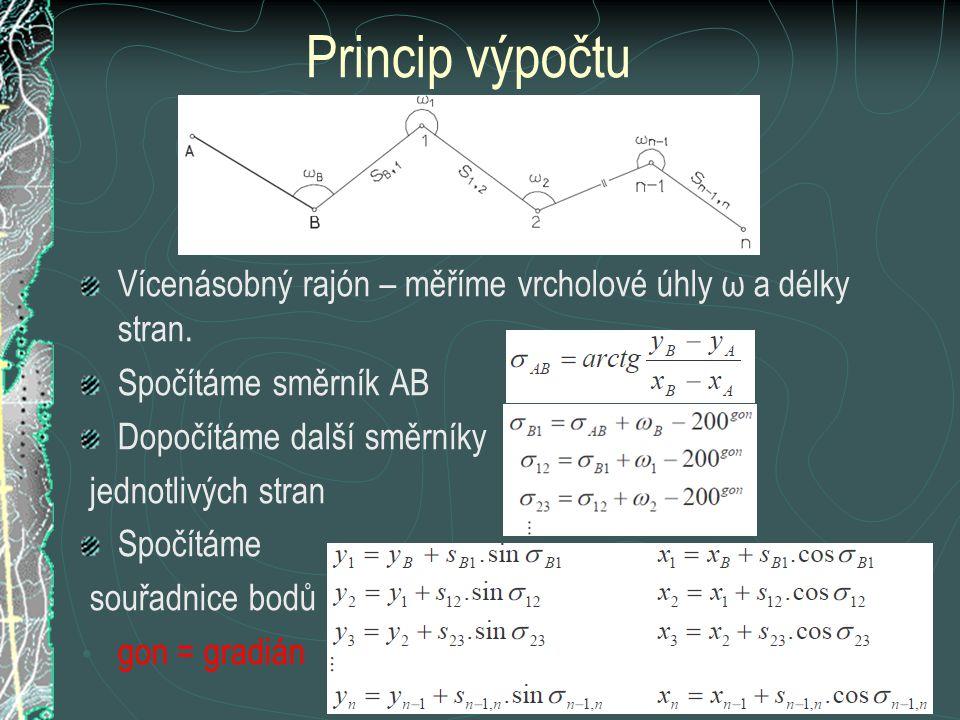 Princip výpočtu Vícenásobný rajón – měříme vrcholové úhly ω a délky stran. Spočítáme směrník AB. Dopočítáme další směrníky.