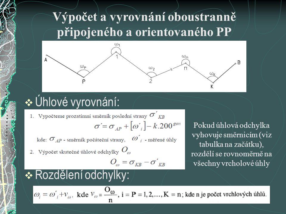 Výpočet a vyrovnání oboustranně připojeného a orientovaného PP
