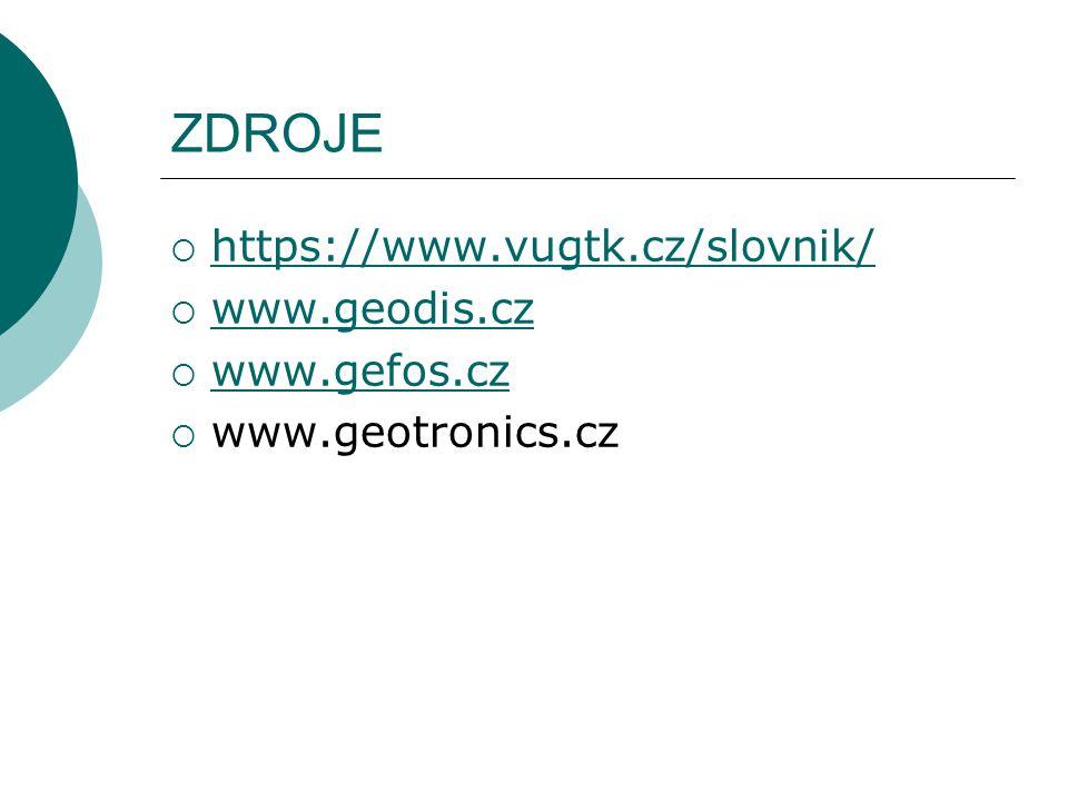 ZDROJE https://www.vugtk.cz/slovnik/ www.geodis.cz www.gefos.cz
