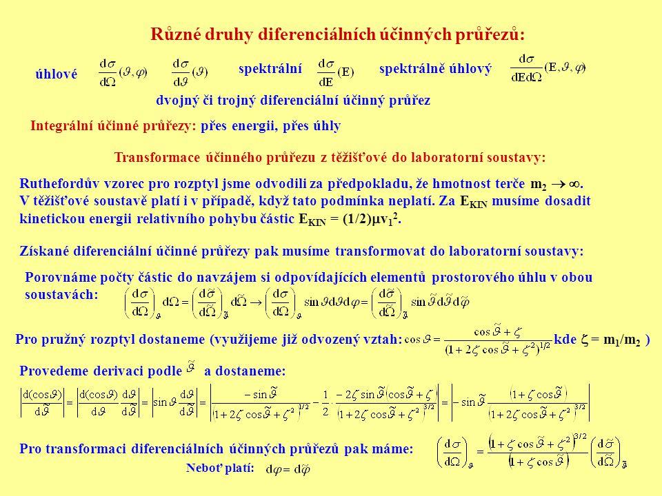 Různé druhy diferenciálních účinných průřezů: