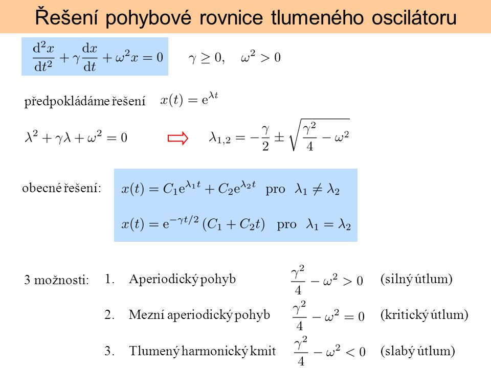 Řešení pohybové rovnice tlumeného oscilátoru