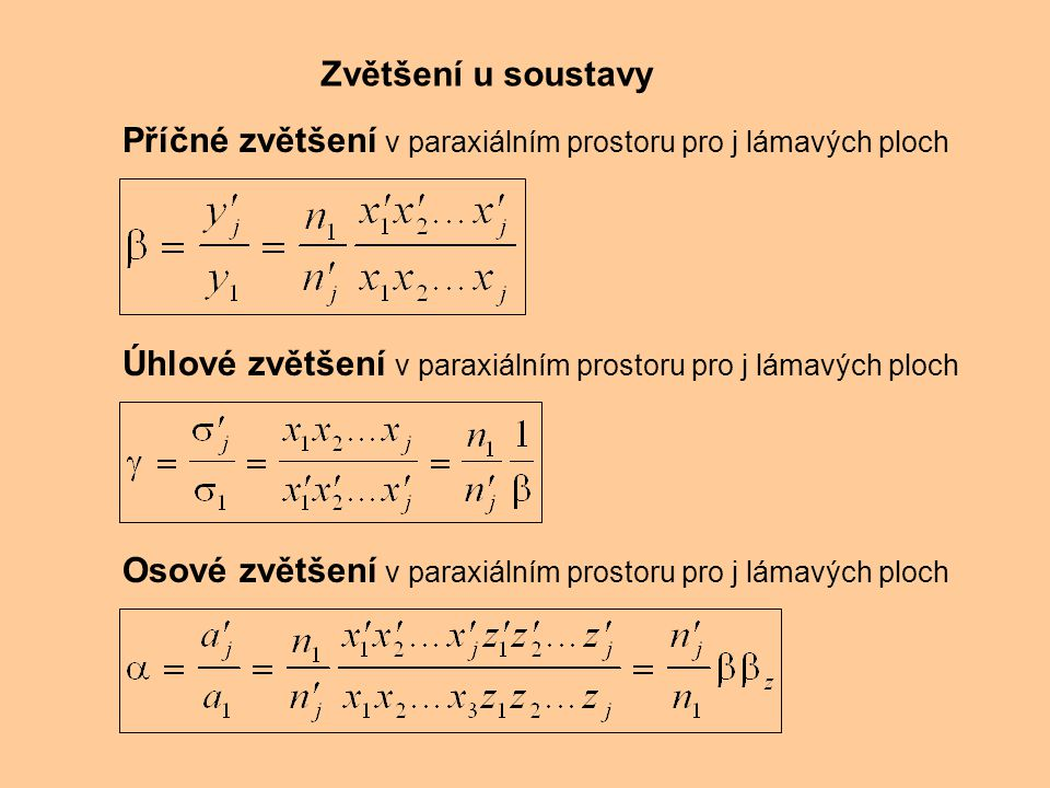 Zvětšení u soustavy Příčné zvětšení v paraxiálním prostoru pro j lámavých ploch. Úhlové zvětšení v paraxiálním prostoru pro j lámavých ploch.