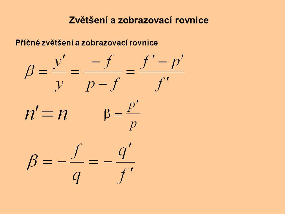 Zvětšení a zobrazovací rovnice