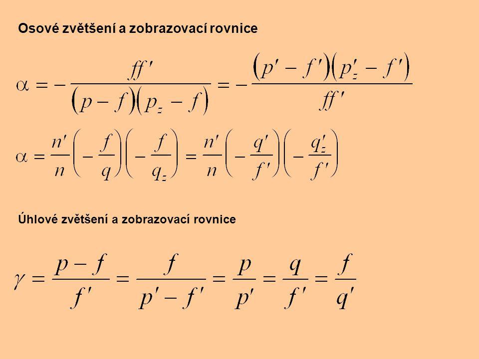 Osové zvětšení a zobrazovací rovnice