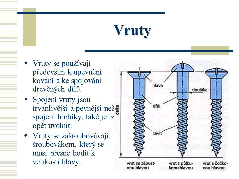 Vruty Vruty se používají především k upevnění kování a ke spojování dřevěných dílů.