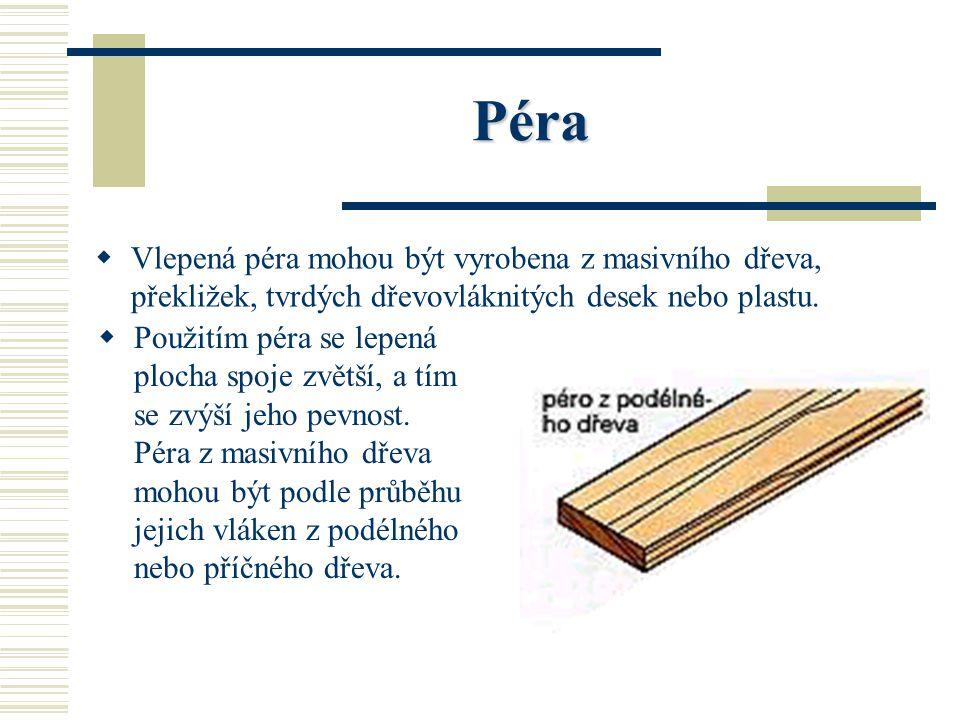 Péra Vlepená péra mohou být vyrobena z masivního dřeva, překližek, tvrdých dřevovláknitých desek nebo plastu.