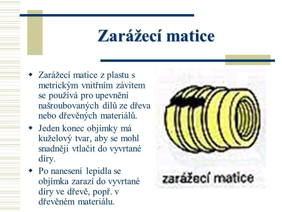 Zarážecí matice Zarážecí matice z plastu s metrickým vnitřním závitem se používá pro upevnění našroubovaných dílů ze dřeva nebo dřevěných materiálů.