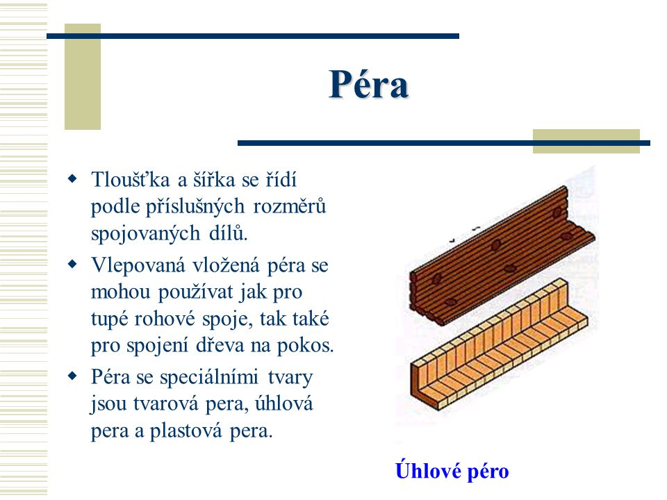Péra Tloušťka a šířka se řídí podle příslušných rozměrů spojovaných dílů.
