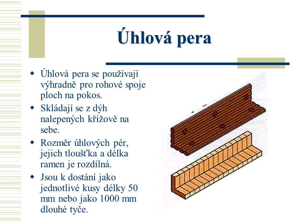 Úhlová pera Úhlová pera se používají výhradně pro rohové spoje ploch na pokos. Skládají se z dýh nalepených křížově na sebe.