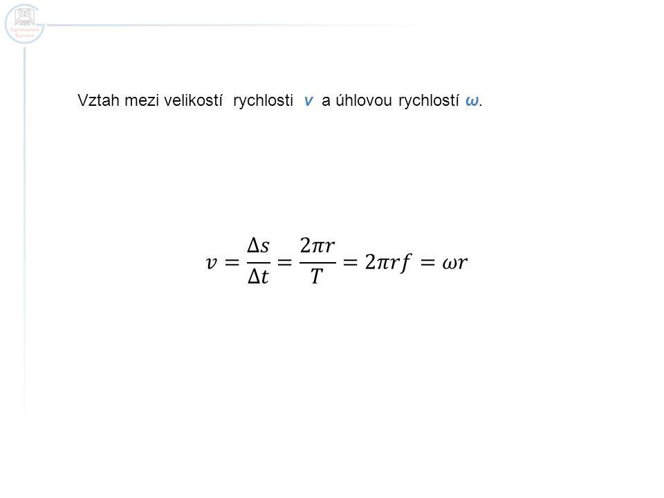 Vztah mezi velikostí rychlosti v a úhlovou rychlostí ω.