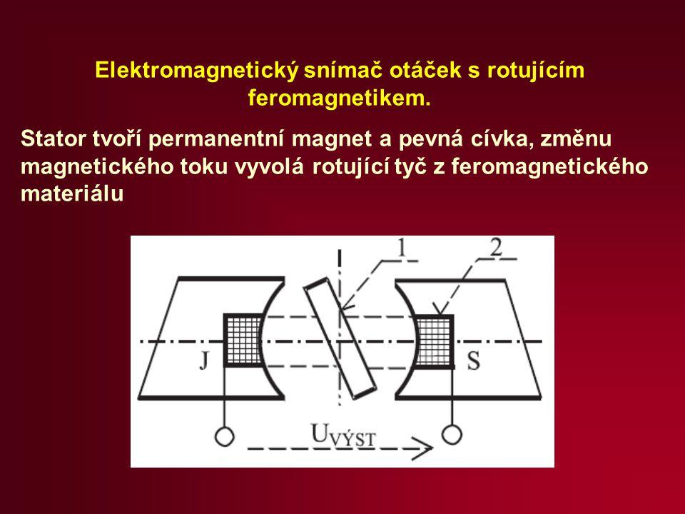 Elektromagnetický snímač otáček s rotujícím feromagnetikem.