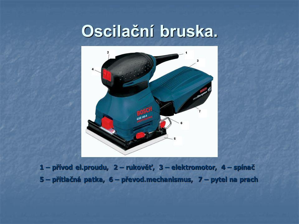 Oscilační bruska. 1 – přívod el.proudu, 2 – rukověť, 3 – elektromotor, 4 – spínač.