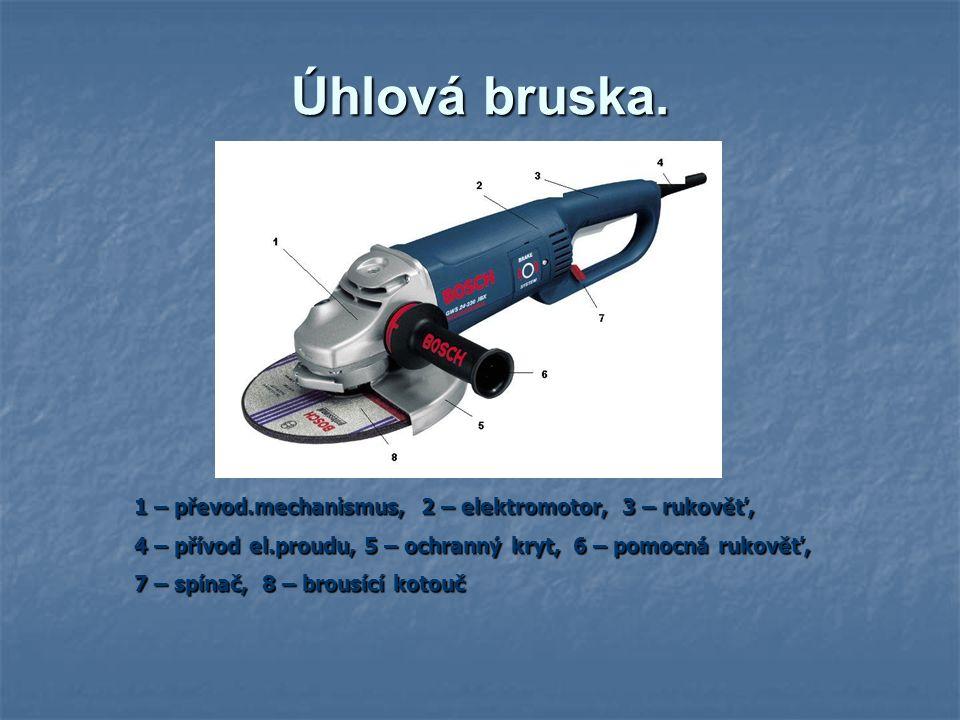 Úhlová bruska. 1 – převod.mechanismus, 2 – elektromotor, 3 – rukověť,