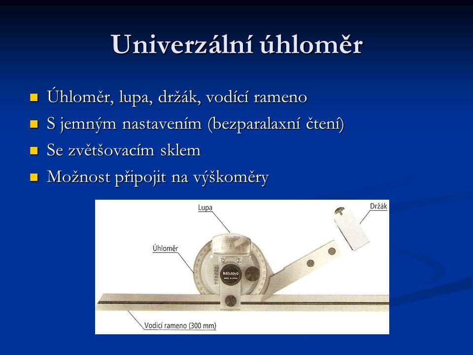 Univerzální úhloměr Úhloměr, lupa, držák, vodící rameno