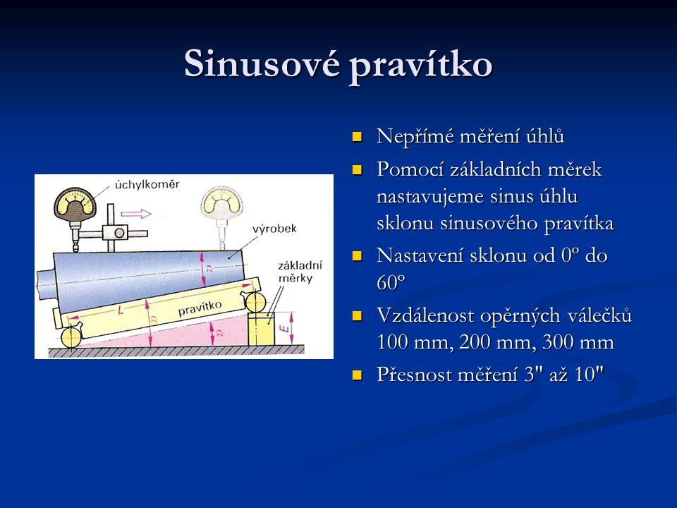 Sinusové pravítko Nepřímé měření úhlů