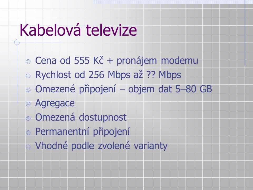 Kabelová televize Cena od 555 Kč + pronájem modemu