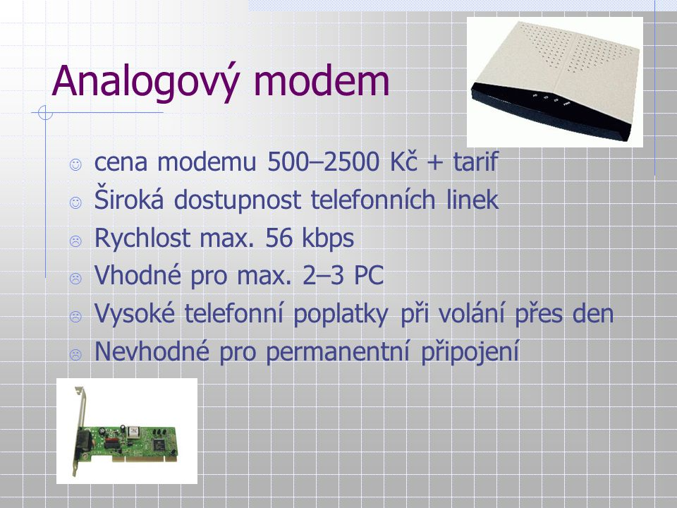 Analogový modem cena modemu 500–2500 Kč + tarif