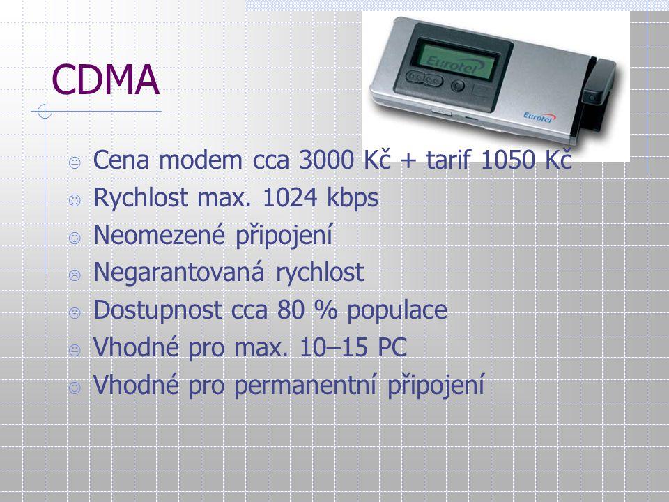 CDMA Cena modem cca 3000 Kč + tarif 1050 Kč Rychlost max. 1024 kbps