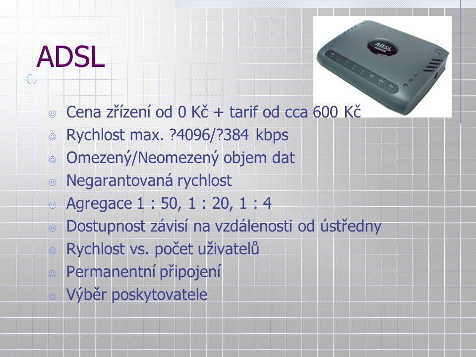 ADSL Cena zřízení od 0 Kč + tarif od cca 600 Kč