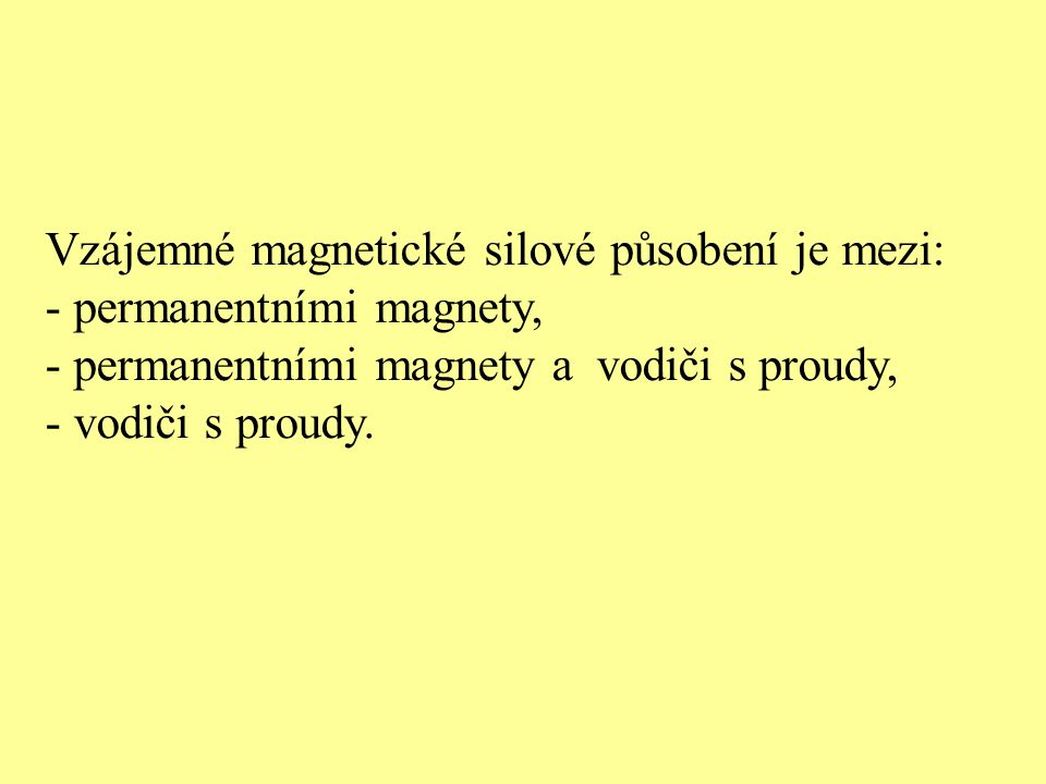 Vzájemné magnetické silové působení je mezi: