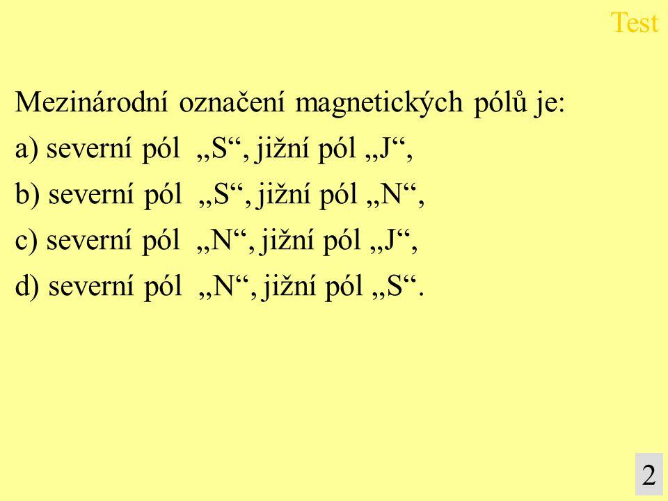 Mezinárodní označení magnetických pólů je:
