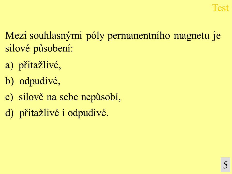 Mezi souhlasnými póly permanentního magnetu je silové působení: