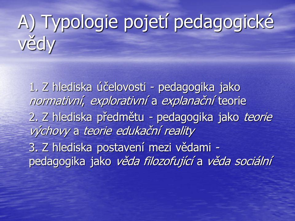 A) Typologie pojetí pedagogické vědy
