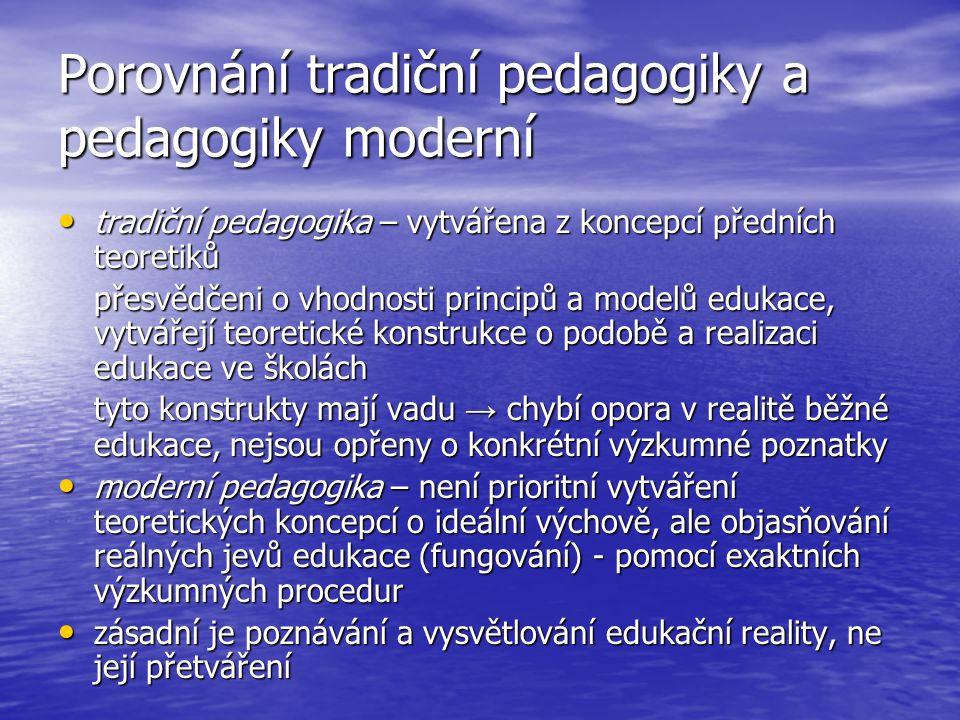 Porovnání tradiční pedagogiky a pedagogiky moderní