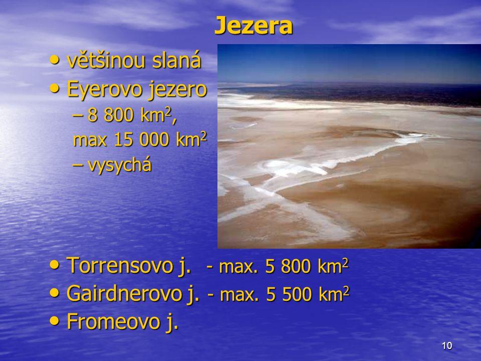 Jezera většinou slaná Eyerovo jezero Torrensovo j. - max. 5 800 km2