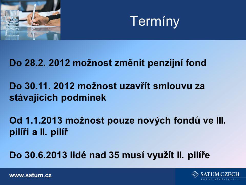 Termíny Do 28.2. 2012 možnost změnit penzijní fond