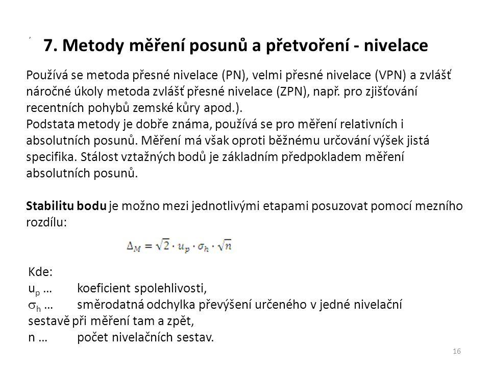 7. Metody měření posunů a přetvoření - nivelace