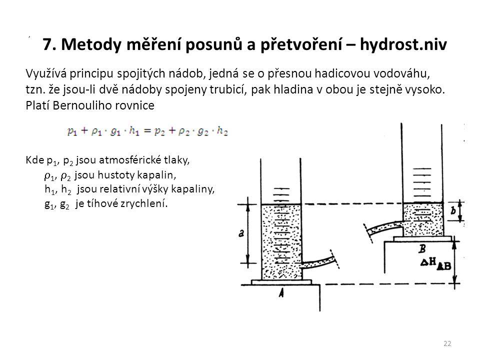 7. Metody měření posunů a přetvoření – hydrost.niv